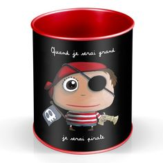 """Pot à crayons """"Quand je serai grand, je serai Pirate"""" - Le Coin des Créateurs #lecoindescreateurs #quandjeseraigrand #isabellekessedjian #ecole #rentree #potacrayons #pirate"""