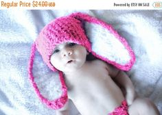 CHRISTMAS SALE 3 to 6m Pink Bunny Baby Hat, Easter Bunny Hat, Hot Pink Bunny Costume Baby Beanie, Infant Bunny Photo Prop, Christmas Gift #baby #children #kids #kidsfashion #girlhat #boyhat #babyboy #babygirl #easter #bunny #bunnyhat #babyhat #hat #babamoon #etsy #photoprop #bunnycostume #eastercostume #etsygifts #onsale #sale #deals #pink