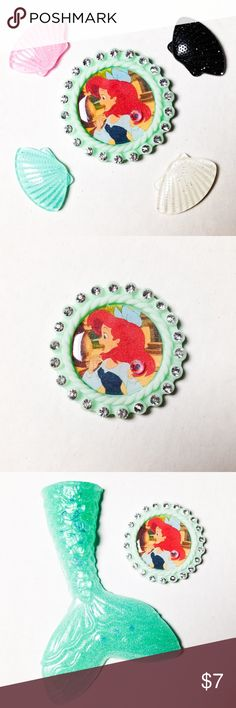"""🆕 Ariel Brooch Handmade brooch with a sealed image of Ariel framed in a mint charm.   We offer 15% off on all bundles. You can """"Add to Bundle"""" to get discount.  Most items listed are ready to ship but if you need something sooner please let us know before ordering.  Other pieces are also available in my closet. Thank you for shopping my closet! Magic Main Street Jewelry Brooches"""