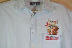 Vintage Hanna Barbera Cartoon All Stars Denim Long Sleeves Men's Shirt Large  #WarnerBrosStudioStore #ButtonFront
