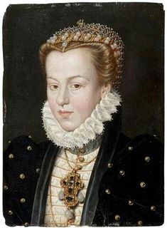Elisabeth of Austria July 1554 – 22 January born an Archduchess of Austria, was Queen of France from 1570 to 1574 as the consort of Charles IX of France. Costume Renaissance, Mode Renaissance, Renaissance Portraits, Renaissance Jewelry, Renaissance Paintings, Renaissance Fashion, Jean Fouquet, 16th Century Fashion, Tudor Dress