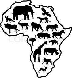 Illustration of Africa Safari Animal Silhouette vector art, clipart and stock vectors. African Animals, African Safari, African Art, Animal Silhouette, Silhouette Vector, Activities For Autistic Children, Preschool Jungle, Continents And Oceans, Flora Und Fauna