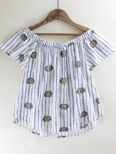 Santa Fe Striped Top. Off white Santa Fe Striped Top. Off the shoulder top. Cute spring top. Spring outfit inspo. New arrivals at therollinj.com.