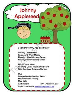 Johnny Appleseed Math/Literacy/Social Studies/Biography from Melissa Joe on TeachersNotebook.com (43 pages)  - Johnny Appleseed