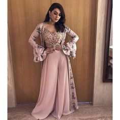 baby pink bollywood style plazzo salwar suit with printed shrug
