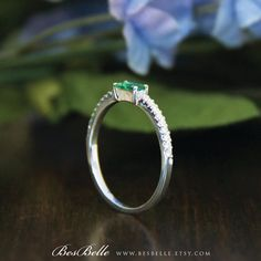 0.55 ct.tw Emerald Baguette Solitaire Engagement Band