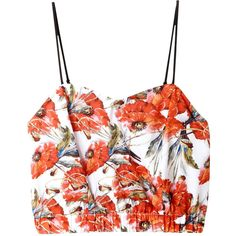 Clover Canyon Floral Garden Crop Top (€165) ❤ liked on Polyvore featuring tops, crop top, orange, white top, floral tops, sweetheart neckline tops and white sweetheart top