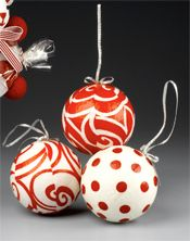 Bold Red & White Fabric Ornaments