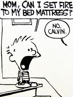 Calvin and Hobbes, DE's CLASSIC PICK of the day (1-11-15) - MOM, CAN I SET FIRE TO MY BED MATTRESS? | No, Calvin.