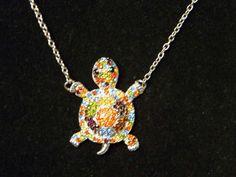 Classically Designed Turtle Tortoise Necklace Multi Swarovski Crystals Elements