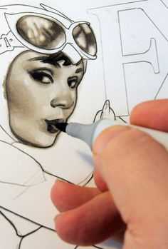 Famous Adam Hughes illustration of catwoman in progress Comic Book Artists, Comic Artist, Comic Books Art, Adam Hughes, Cool Drawings, Pencil Drawings, Catwoman Cosplay, You Draw, Copics