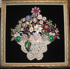 flower basket, cute way to use an old doily with your heirloom jewels #cuteJewelry