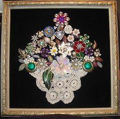 Resultado de imagem para framed doilies - September 14 2019 at Costume Jewelry Crafts, Vintage Jewelry Crafts, Vintage Costume Jewelry, Antique Jewelry, Jewelry Frames, Jewelry Tree, Jewelry Shop, Fashion Jewelry, Women Jewelry