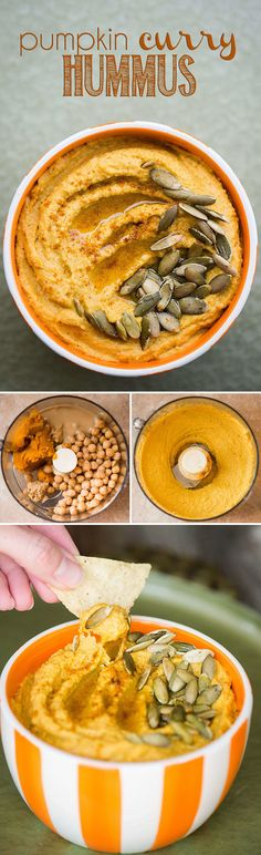 Pumpkin Curry Hummus is a great healthy snack. By adding pumpkin puree and curry powder to this homemade blend you end up with the perfect fall appetizer.