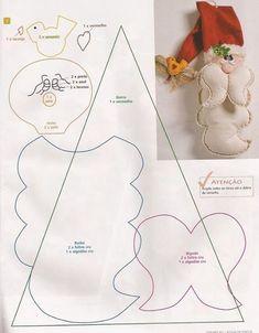 Papai Noel de Porta com molde Can't read this, but bet could look at it & figure it out! Felt Christmas Decorations, Felt Christmas Ornaments, Noel Christmas, All Things Christmas, Handmade Christmas, Christmas Stockings, Father Christmas, Christmas Projects, Felt Crafts