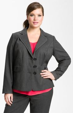 Do you need a classic but not stuffy go-to jacket for work? This is it: princess seaming, three buttons, the perfect lapel, and a slight peplum to flatter your hips. Grab it!! $99 by Sejour for Nordstrom.