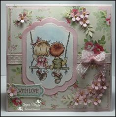 handmade card ... little girl and guy on a swing ... shabby chic ... cute Vinatage look ... pinks and greens ... adorable ... Lily of the Valley stamps