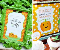 """Darling """"Little Pumpkin"""" Fall Birthday Party @ Kate Scott, could be cute for Hud's first bday in October! Adpated for a boy"""