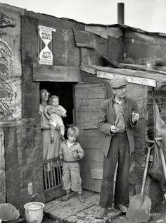 "Coke House January 1939. ""Herrin, Illinois. Family on relief living in shanty at city dump."""