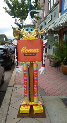 #Giant Candy Scarecrow  #Scarecrow Contest #Holly Heights #Reeses #Hershey Kiss #Mary Janes #Smarties # Tootsie Roll