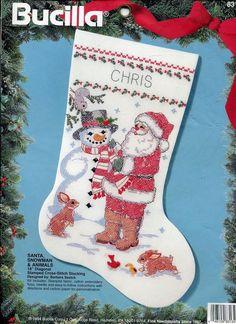 "Bucilla Santa Snowman Christmas Stocking Stamped Cross Stitch 18"" Kit Customize  #Bucilla #StampedCrossstitchCraftKit"
