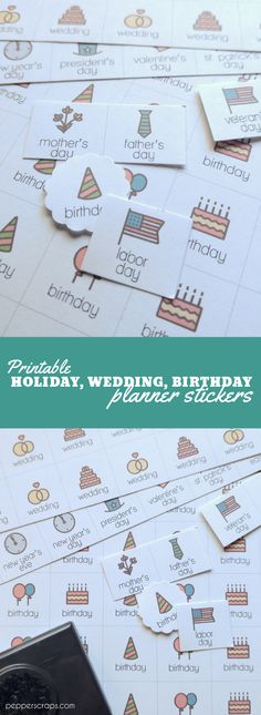 Printable Holiday Wedding & Birthday Planner Stickers Set