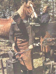 Wehrmacht blacksmith making horseshoe.