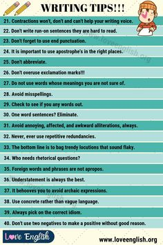 Writing Tips: 40 Smart Tips on How to Write Better - Love English Book Writing Tips, Cool Writing, Teaching Writing, English Lessons, Learn English, One Word Sentence, Transition Words And Phrases, Run On Sentences, Foreign Words