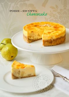 Caramelized Pears, Lemony-Almond Ricotta Cheesecake, topped with Crème Brûlée