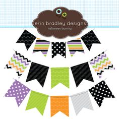 Halloween Bunting Banner Flags Clipart Clip Art for Personal & Commercial Use