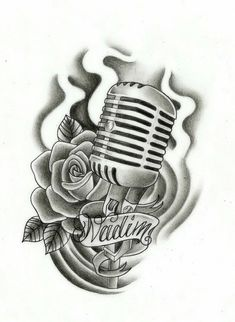 Grey Rose Flower And Microphone Tattoo Design
