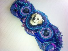 """"""" Zoey"""".  My seed beaded embroidered bracelet with A one of a kind Labrador cabochon by Laura Mears, porcelain artist . The colors represent my adorable lab, Zoey"""