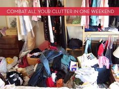 Spring cleaning: curb the clutter in one weekend. Because I am an organization addict. Declutter Bedroom, Arched Cabin, Make Do And Mend, Saving Ideas, Cleaning Hacks, Cleaning Room, Spring Cleaning, Getting Organized, Storage Solutions