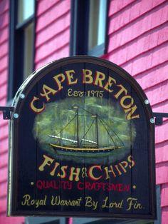 Fish and Chips Sign, Cape Breton, Sydney, Nova Scotia, Canada.Photography by Greg Johnston Pub Signs, Shop Signs, O Canada, Canada Trip, East Coast Travel, Atlantic Canada, Cape Breton, Prince Edward Island, Quebec City