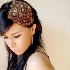 GIANNA  brown feather headband or hair clip  bohemian by kaang, $15.00