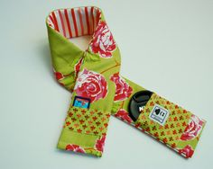 Camera Strap Slipcover Padded with Anna Maria Horner Olive floral fabric and Pockets