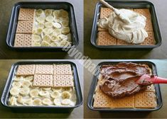 A delicious dessert without baking. Bananas, custard and biscuits are the right combination for small and large sweet tooths. A delicious dessert without baking. Bananas, custard and biscuits are the right combination for small and large sweet tooths. Keks Dessert, Dessert Oreo, Dessert Party, Sweet Recipes, Cake Recipes, Dessert Recipes, Pudding Desserts, Quick Recipes, Easy No Bake Desserts