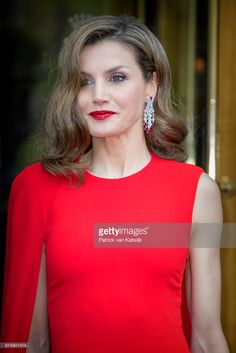 Queen Letizia of Spain leaves their hotel to attend the private birthday party of King Willem-Alexander in the Royal Stables on April 29, 2017 in The Hague, Netherlands. (Photo by Patrick van Katwijk/Getty Images)