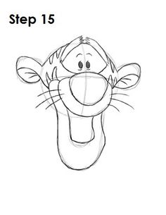 Step by step tutorial of how to Draw Tigger