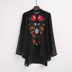 Nelly Flower Embroidery Black Boho Blouse