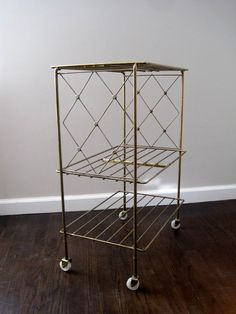 Vintage Mid Century Metal Side Table Record Stand Telephone Table