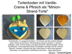 Silvia's Tortenträume:  Tortenboden Pfirsich Füllung Torte Meer Minions Strand Wasser Anleitung Tutorial