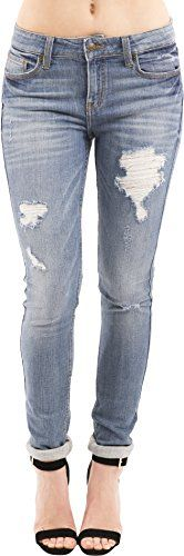 Eunina Womens Distressed Stretch Skinny Jeans Plus Size 2XL Light Wash >>> Check out this great product.