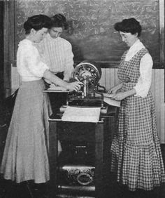 """""""Using the Neostyle Duplicating Machine,"""" Haverhill Business College, Haverhill, MA, 1909-10 college catalog."""