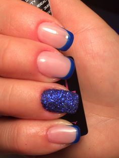 Blue french with blue glitter