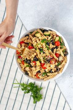 This pasta salad recipe is super simple to throw together with pantry staples and summer veggies fresh from your garden.