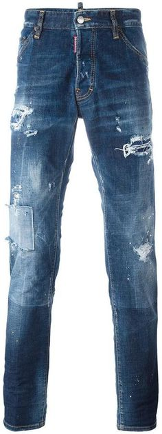 Classic Kenny Twist Distressed Jeans In Blue Paint Splatter Jeans, Bleached Jeans, Button Fly Jeans, Blue Jeans, Men's Jeans, Slim Legs, Distressed Jeans, Dsquared2, Just For You