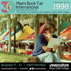 Fairgoer reading at Miami Book Fair International, 1998