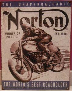 Norton Motorcycle Bike British Parts Engine Garage Shop Poster Picture Tin Sign