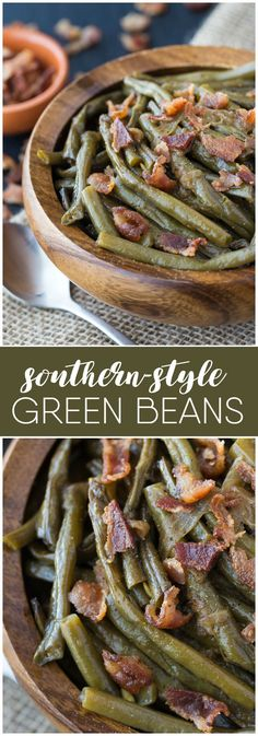 Beans Southern Style Green Beans - A simple slow cooker recipe made with beans, bacon and onions!Southern Style Green Beans - A simple slow cooker recipe made with beans, bacon and onions! Crockpot Green Beans, Green Beans With Bacon, Green Beans Slow Cooker, Soul Food Green Beans, Canned Green Bean Recipes, Green Onions, Slow Cooker Soup, Slow Cooker Recipes, Cooking Recipes